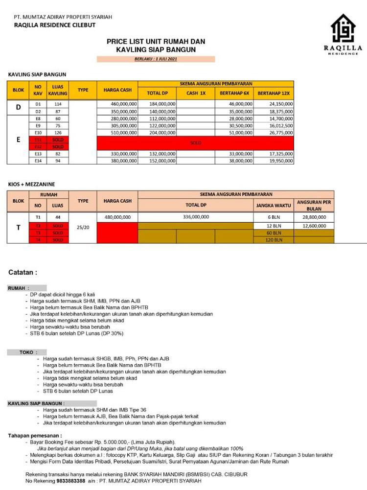 price list kavling raqilla residence cilebut per juli 2021